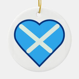 Ornement Rond En Céramique Drapeau bleu et blanc de coeur de l'Ecosse d'amour