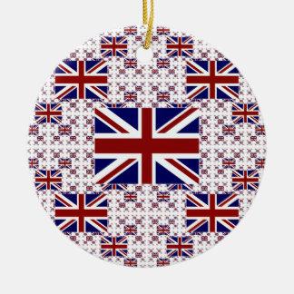 Ornement Rond En Céramique Drapeau BRITANNIQUE d'Union Jack dans les couches