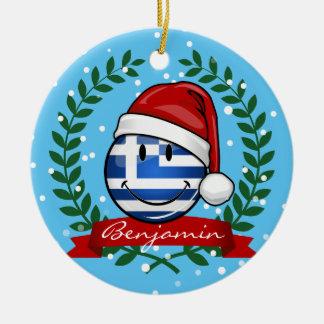 Ornement Rond En Céramique Drapeau de Grec de style de Noël