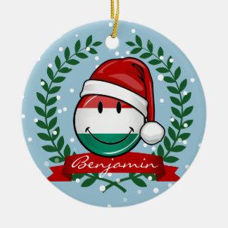 Ornement Rond En Céramique Drapeau de Hongrois de style de Noël