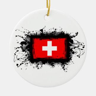 Ornement Rond En Céramique Drapeau de la Suisse