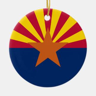 Ornement Rond En Céramique Drapeau de l'Arizona