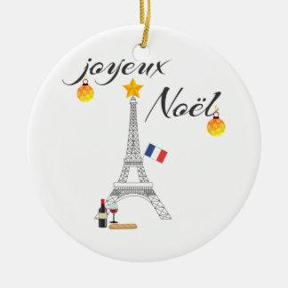Ornement Rond En Céramique Drapeau de Tour Eiffel de la France Joyeux Noel