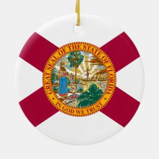 Ornement Rond En Céramique Drapeau d'état de la Floride