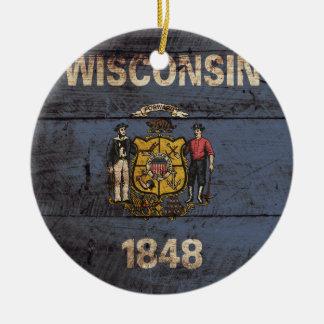Ornement Rond En Céramique Drapeau d'état du Wisconsin sur le vieux grain en