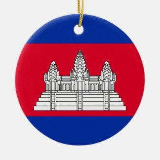 Ornement Rond En Céramique Drapeau du Cambodge