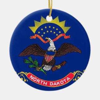 Ornement Rond En Céramique Drapeau du Dakota du Nord