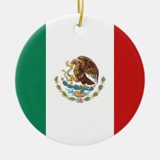 Ornement Rond En Céramique Drapeau du Mexique