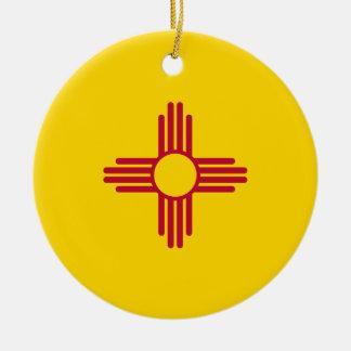 Ornement Rond En Céramique Drapeau du Nouveau Mexique