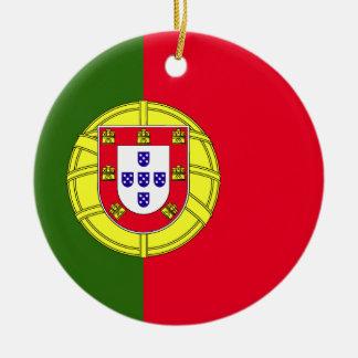 Ornement Rond En Céramique Drapeau du Portugal