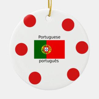 Ornement Rond En Céramique Drapeau du Portugal et conception portugaise de