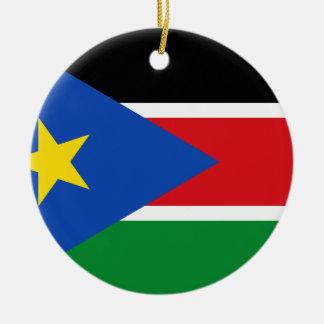 Ornement Rond En Céramique Drapeau du sud du Soudan
