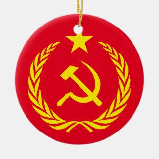 Ornement Rond En Céramique Drapeau en céramique de communiste de guerre