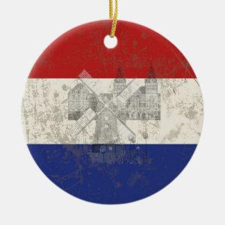 Ornement Rond En Céramique Drapeau et symboles de Pays-Bas ID151