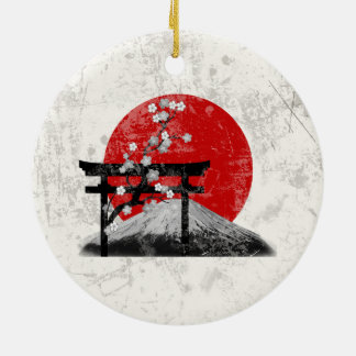 Ornement Rond En Céramique Drapeau et symboles du Japon ID153