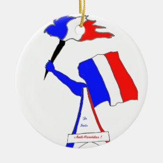 Ornement Rond En Céramique DRAPEAU FRANCE FRANCE JE SUIS ANTI CORRIDAS.png