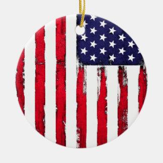 Ornement Rond En Céramique Drapeau grunge patriotique américain