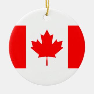 Ornement Rond En Céramique Drapeau national du Canada, feuille d'érable,