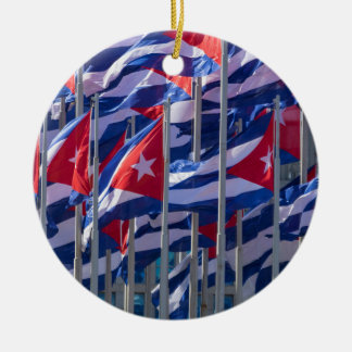 Ornement Rond En Céramique Drapeaux cubains, La Havane, Cuba