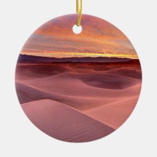 Ornement Rond En Céramique Dunes de sable roses, Death Valley, CA