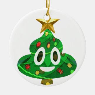 Ornement Rond En Céramique Dunette Emoji d'arbre de Noël