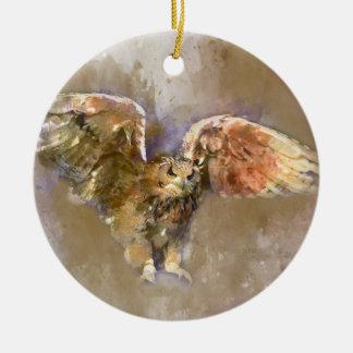Ornement Rond En Céramique Eagle dans l'aquarelle