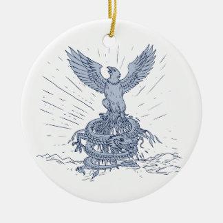 Ornement Rond En Céramique Eagle et dessin de montagnes de dragon