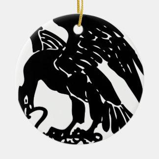 Ornement Rond En Céramique Eagle et serpent