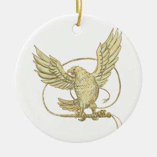 Ornement Rond En Céramique Eagle saisissant le dessin de Bullwhip
