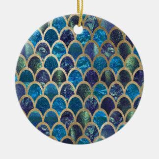 Ornement Rond En Céramique Échelles turquoises de sirène