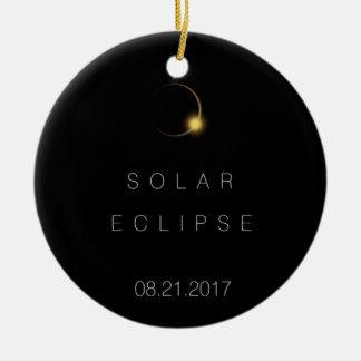 Ornement Rond En Céramique Éclipse 2017 solaire totale