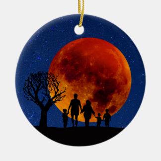 Ornement Rond En Céramique Éclipse lunaire de lune de sang