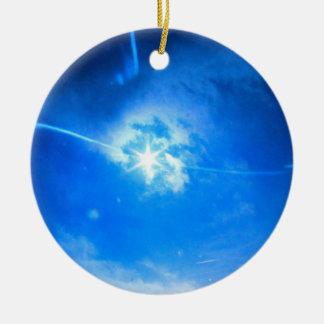 Ornement Rond En Céramique Éclipse pour toujours sur l'arbre de Noël