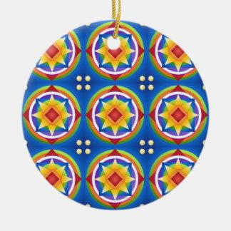 Ornement Rond En Céramique Édredon de mandala d'arc-en-ciel