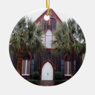 Ornement Rond En Céramique Église de la croix - Bluffton, la Caroline du Sud