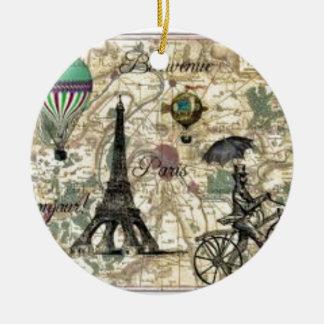 Ornement Rond En Céramique Eiffel Tower vintage Paris