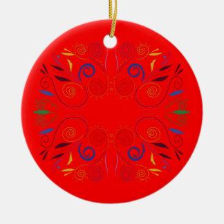 Ornement Rond En Céramique Éléments de conception rouges