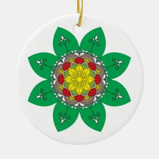 Ornement Rond En Céramique Éléments décoratifs vintages de vert de mandala de