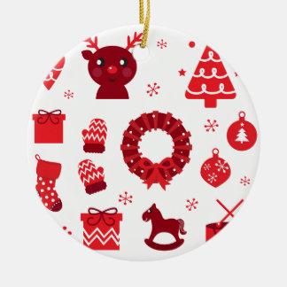 Ornement Rond En Céramique Éléments stupéfiants de Noël rouges