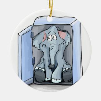 Ornement Rond En Céramique Éléphant de bande dessinée se reposant à