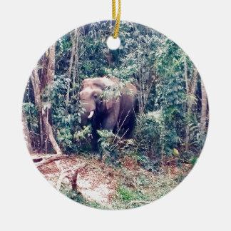 Ornement Rond En Céramique Éléphant en Thaïlande
