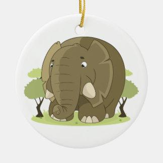 Ornement Rond En Céramique Éléphant mignon