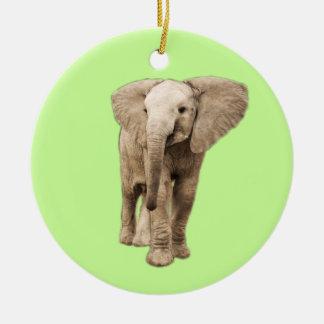 Ornement Rond En Céramique Éléphant mignon de bébé