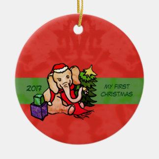 Ornement Rond En Céramique Éléphant mignon personnalisé de Père Noël de