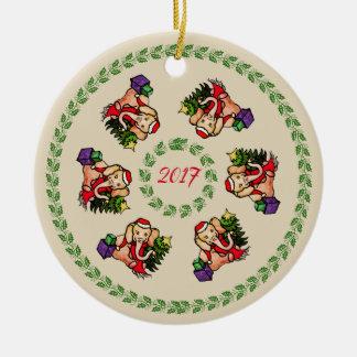 Ornement Rond En Céramique Éléphants mignons vintages de Père Noël avec Noël