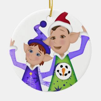 Ornement Rond En Céramique ELFES laids de chandail de Noël !