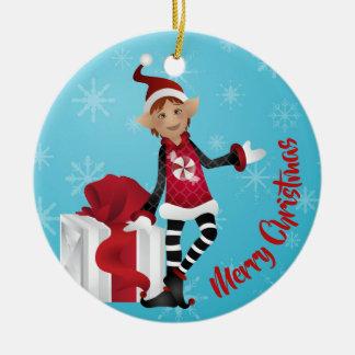 Ornement Rond En Céramique ELFES rouges gais de Noël !