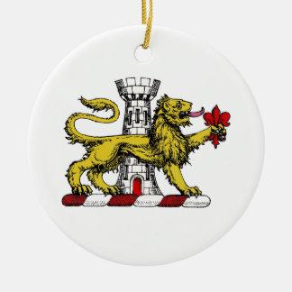 Ornement Rond En Céramique Emblème C de Tower Fleur de Lis Crest de lion
