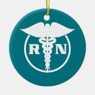Ornement Rond En Céramique Emblème d'infirmier autorisé