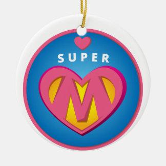 Ornement Rond En Céramique Emblème drôle de maman de superwoman de super
